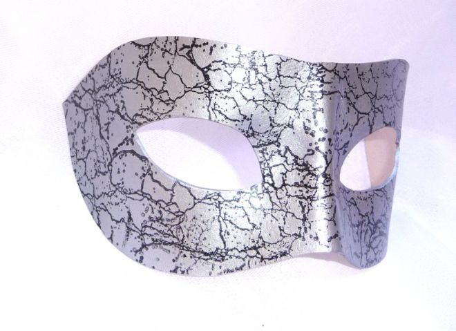 Genuine Handmade Unique Italian Leather Mask Silver & Black Ice Crackle Mask